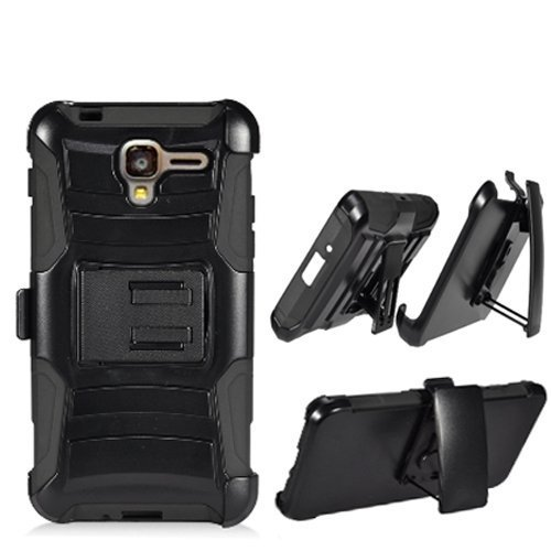 Phone Case for Kyocera Hydro-View 4g LTE (Cricket Wireless) / Hydro-Shore Gophone / Hydro-Reach 4g LTE ( Boost Mobile ) ( Virgin Mobile ) Black Edge Cover Kickstand with Holster Belt Clip by Wireless Accessories