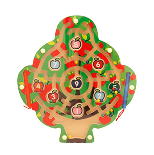 SHENSHOU Magnetic Pen Labyrinth Wooden Early Education Puzzle Maze Rolling Beads Toy Suitable for Children 2-6 Years Old,Apple