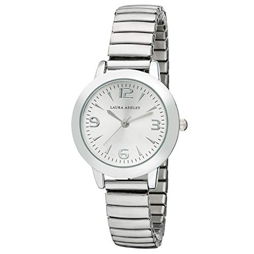 (Laura Ashley Silver Women's Round Case Expandable Stainless Steel Bracelet Watch)