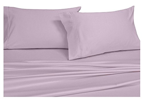 Solid Lilac Queen Size Sheets, 4PC Bed Sheet Set, 100% Cotton, 300 Thread Count, Sateen Solid, Deep Pocket, by Royal Hotel