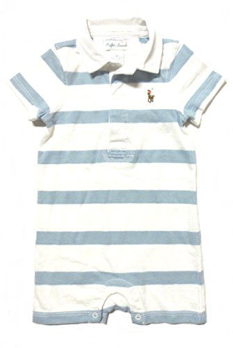 Polo Ralph Lauren Infant Rugby Onesie Romper (9 Months, Light Blue and White)