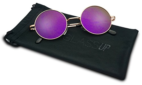 45mm Retro Round Circle John Lennon Color Mirrored Flat Steampunk Style Sun Glasses (Rose Gold / Purple Lens, - Sunglasses Style Steampunk