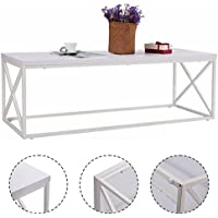 Giantex White Rectangular Coffee Table Accent Modern Small Wood And Metal Table for Living Room(White)