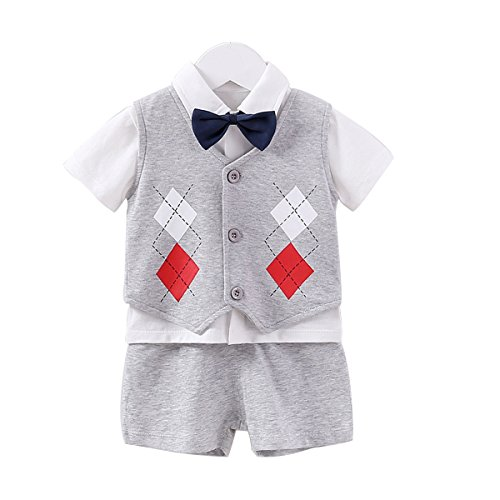 Fairy Baby Summer Baby Boy Gentleman Outfit Formal Short Sleeve Bowtie Tuxedo Dress Suit (3-6Months, Gray -