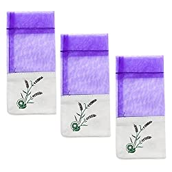 Buorsa 24pcs Sachet Empty Bags Purple With Drawstring Gauze Cotton(5X7.2CM)