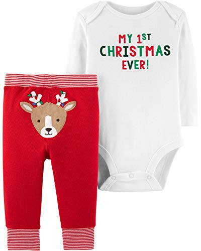 Carter's Baby 2-Piece First Christmas Bodysuit Pant Set, Red, 12 Months