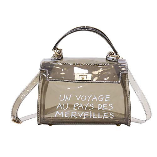 5337d544136fb Feitengtd Women s Fashion Transparent Shoulder Bag Jelly Messenger Bag  Solid Color Handbag (Black)