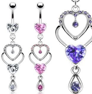 316L Surgical Steel Clear Jewelled Belly Ring with Double Purple Dice Dangle