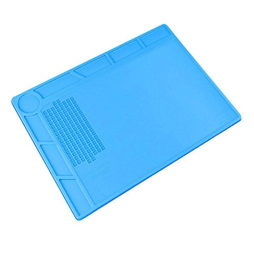UnaMela Maintenance Heat Insulation Pad, Silicone High Temperature Resistant Work Mat Hot Gun Soldering Mat for Computer, Mobile Phones, Glasses, Watches Repairing 13.7X9.8X0.2 Inches Blue - Glue Gun Pad