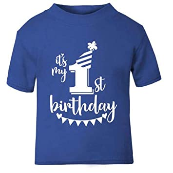 Its My 1st First Birthday T Shirt Childrens Kids Blue Boys Age Size