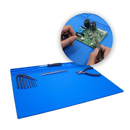 Large Soldering Mat/Pad Silicone Heat Resistant Mat 932°F Hot Air Rework Mat/Pad Repair Mat for iPad,iPhone,Circuit board and other Electronics Repairing 15.8 x 11.8 Inches(Blue) by Handook