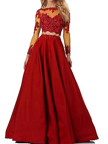Little Star Senior's High School Prom Dress Red Long Sleeve Party Dancing Ball Gown For Junior