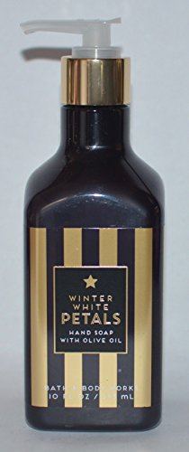 Bath and Body Works Oilve Oil Hand Soap Winter White Petals 10 Ounce Black and Gold Striped Pump Bottle