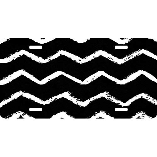Bone Ivory and Jet Black Chevron Life Personalized Aluminum License Plate Tag Sign for Auto Cars, Metal Car Tag Cover for US Vehicles, 12 x 6 Inch