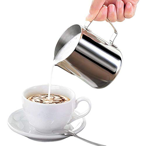 Milk Pitcher, Stainless Steel Frothing Pitcher, Koncle Frothing Milk with Measurement Markings for Latte Art, Cappuchinos, Expresso, Cream, Water, Juices, Smoothies, Pro Barista & Home Use (28oz)