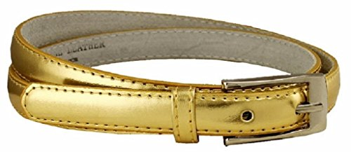 AimTrend Women's Belt Skinny Narrow Genuine Leather Fashion Dress Accessory-Gold-M (Gold Genuine Belt)
