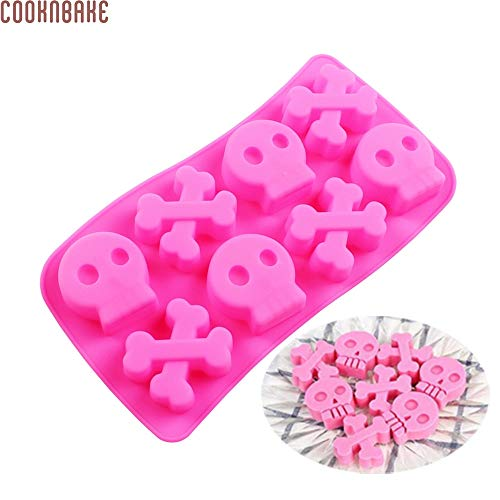 1 piece COOKNBAKE DIY 8 Holes silicone molds cake decoration tools cake baking tools skull mold chocolate mold CDSM-702 (702 Mold)