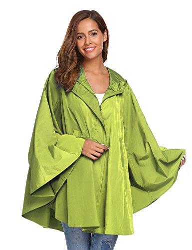 SoTeer Womens Rain Poncho Batwing-Sleeved Hooded Raincoat Waterproof Packable Rain Jacket Green XL