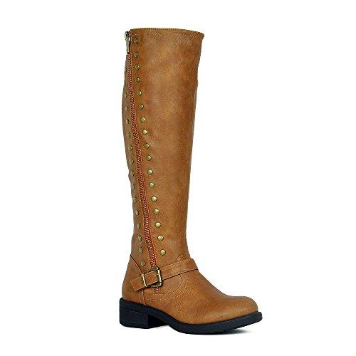 WestCoast Women's Knee High Riding Boot Faux Leather Side Zipper Low Heel Boots Tan 9
