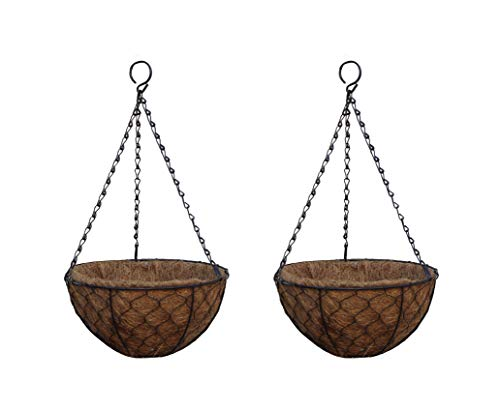 TABOR TOOLS Coconut Hanging Planter Basket with Natural Coir Liner, Water Saving Hanging Flower Pot, Decor Hanging Basket, Chain and Hook Included. MT2106A. 2-Pack. (12 Inch, Hen Mesh, Brown)