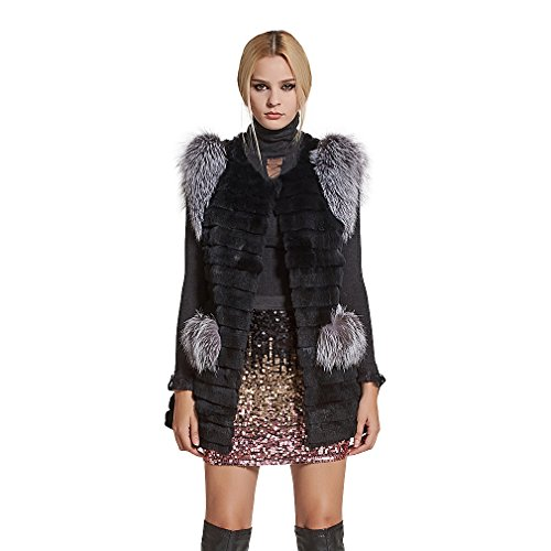 Genuine Rabbit Fur Vest (Fur Story Women's Real Rex Rabbit Fur Vest with Silver Fox Fur Shoulder Sleeveless O Neck US6 (Black))
