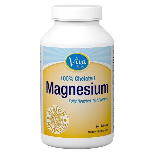 Viva Labs magnésium Bisglycinate chélate: Plus haut niveau de l'Intégration, 200mg de magnésium élémentaire par portion, 240 comprimés