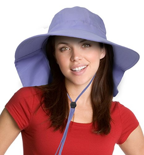 Sun Blocker Women's Sun Hat with Neck Flap Wide Brim Beach Travel Cap Purple