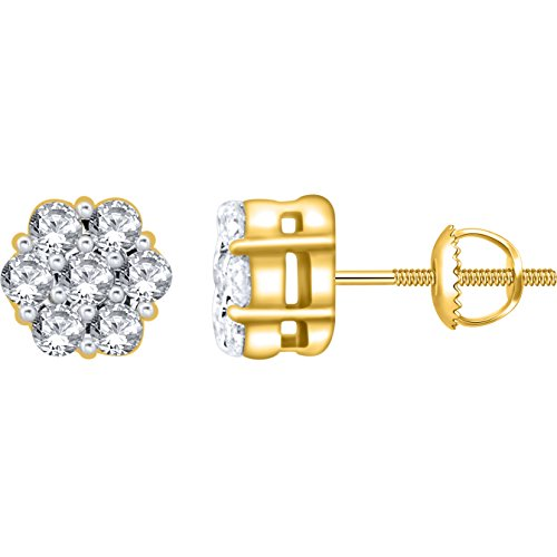 0.15 Carat (ctw) 14k Yellow Gold Round Diamond Flower Shape Invisible Cluster Stud Earrings with Screw Back 1/6 CT