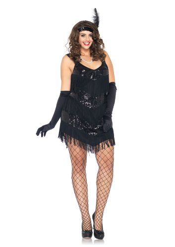 Sexy Flapper Dresses (Leg Avenue Women's 2 Piece Roaring 20's Honey Sequin Shimmy Fringe Dress With Feather Headband, Black, Small)