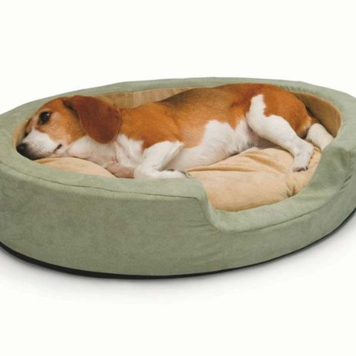 Thermo Snuggly Sleeper Oval Medium Sage 26 x 20 x 5 by K&H Manufacturing Thermo Snuggly Sleeper Sage