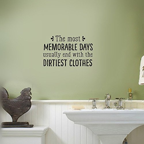 Yekellyy Vinyl Laundry Wall Decal The Most Memorable Days Usually End With The Dirtiest Clothes [embellishments] Funny Laundry Wall Quote Wall Sticker Laundry Room Art Decoration -
