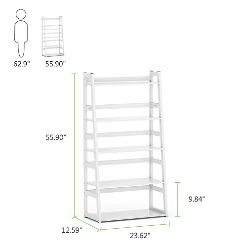 Tribesigns 5-Tier Bookshelf Modern Bookcase, Freestanding Leaning Ladder Shelf, Ample Storage Space for CD, Books, Home Decor (White) by Tribesigns (Image #6)