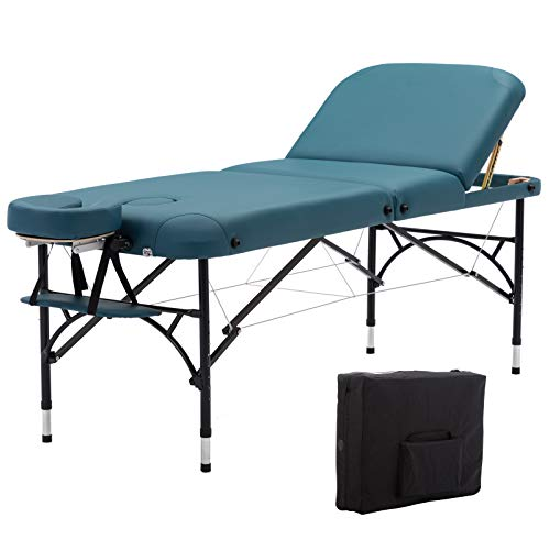 Artechworks 73″ Long 28″ Wide Professional 3 Folding Portable Lightweight Massage Table Facial Solon Spa Tattoo Bed With Aluminium Leg, Teal Green Color