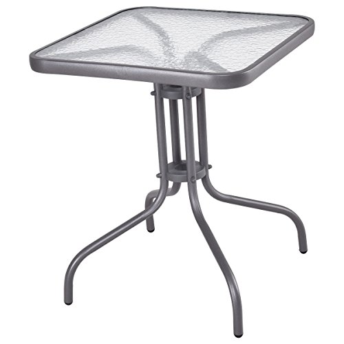 Globe House Products GHP Home Outdoor 28'' H Durable and Sturdy Waterproof Tempered Glass Square Table by Globe House Products