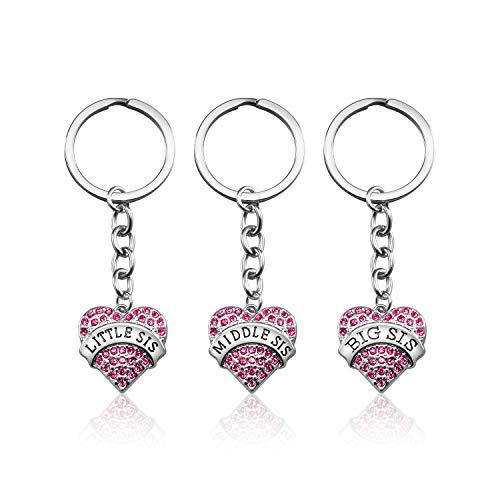 3PCS Big Sis Middle Sis Little Sis Crystal Pink Heart Pendant Keychain Set for Girls Kids Sister Jewelry Sister Gifts from Sister (Big-Middle-Little)