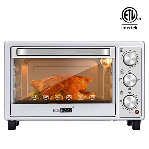 VIVOHOME Stainless Steel 16L 6 Slice Convection Countertop Toaster Oven Broiler with Pan Tray