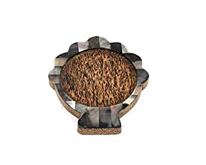 Handmade Coconut Wood Clam Coaster With Black Mother of Pearl Inlay