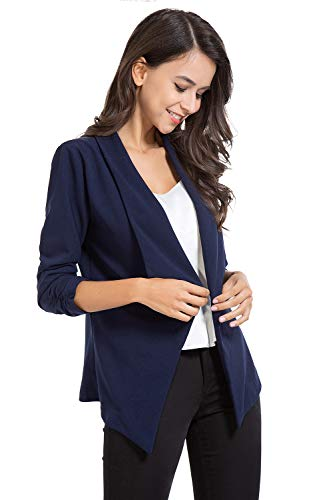 AUQCO Casual Open Front Blazer for Women Work Office Business Jacket Ruched 3/4 Sleeve Lightweight Draped Cardigan 16