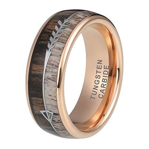 - iTungsten 8mm Mens Tungsten Rings Womens Rose Gold Wedding Bands Deer Antler Koa Wood Arrow Inlay Hunting Jewelry Comfort Fit
