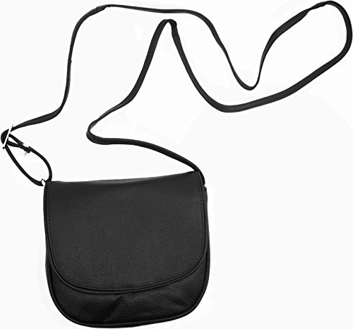 "Genuine Cowhide Black Leather Crossbody Bag (5.5"" X 7.5"") With Flap Closure"