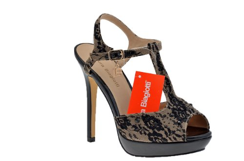 Laura Biagiotti Charleston Heel 130 Sandale Neu . Schwarz / Beige
