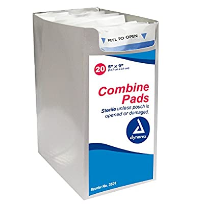 Dynarex Combine Pads, Sterile, 5 x 9 Inch, 20 Count