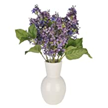 House of Silk Flowers Artificial Purple Lilac in White Ceramic Vase