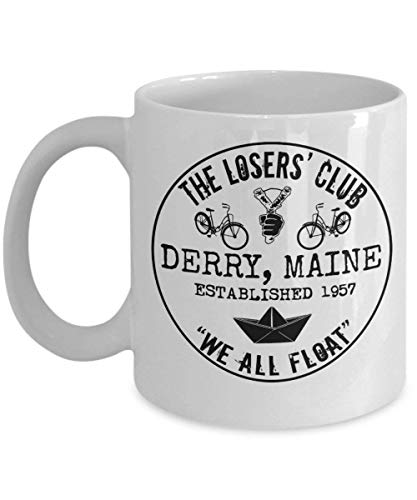 The Losers' Club We All Float Stephen King It Coffee Mug Cup (White) 11oz Stephen King Clown It Derry Maine Gift Merchandise Accessories Decal -