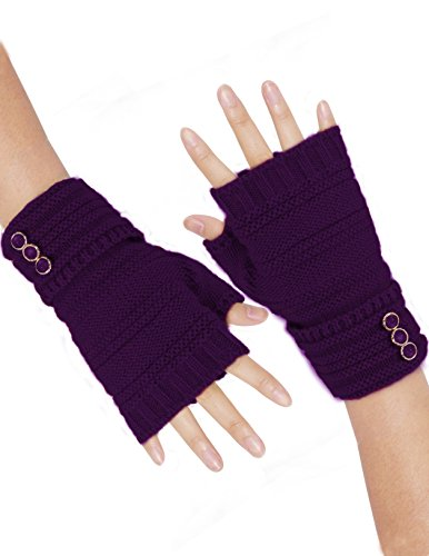 Purple Fingerless Gloves (Dahlia Women's Triple Button Acrylic Knit Fingerless Gloves - Purple)