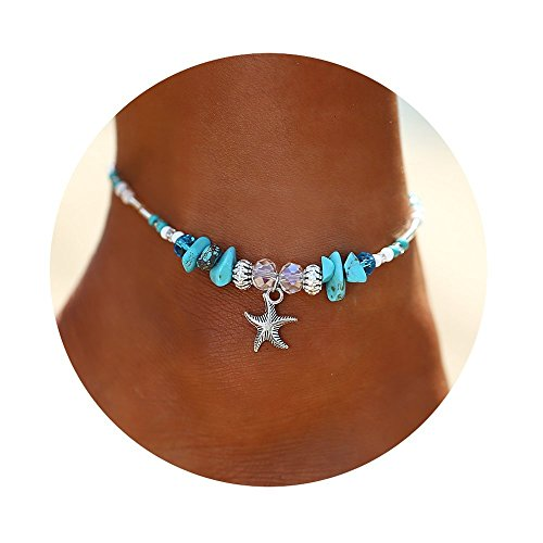 (FINETOO Blue Starfish Charm and Turquoise Pearl Bead Link Anklet Adjustable Gifts for Women and Girls)