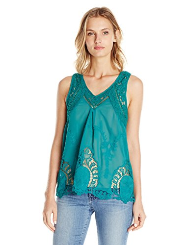 Taylor and Sage Women's Embroidered Scallop Hem Tank, Rich Teal, Medium