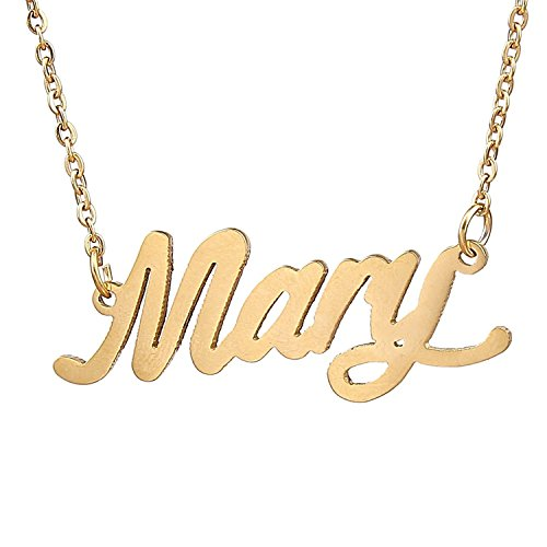 (HUAN XUN Gold Plated Delicated Personalized Name Necklace, Mary)