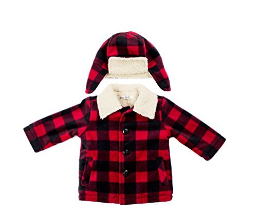 Youngsport Sherpa lined fleece coat with sherpa collar (24M, Buffalo Plaid)