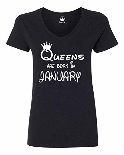 Oceans Tee Queens Are Born in January Girft Birthday Women Men Tee Women V-Neck OT725025 Black Small